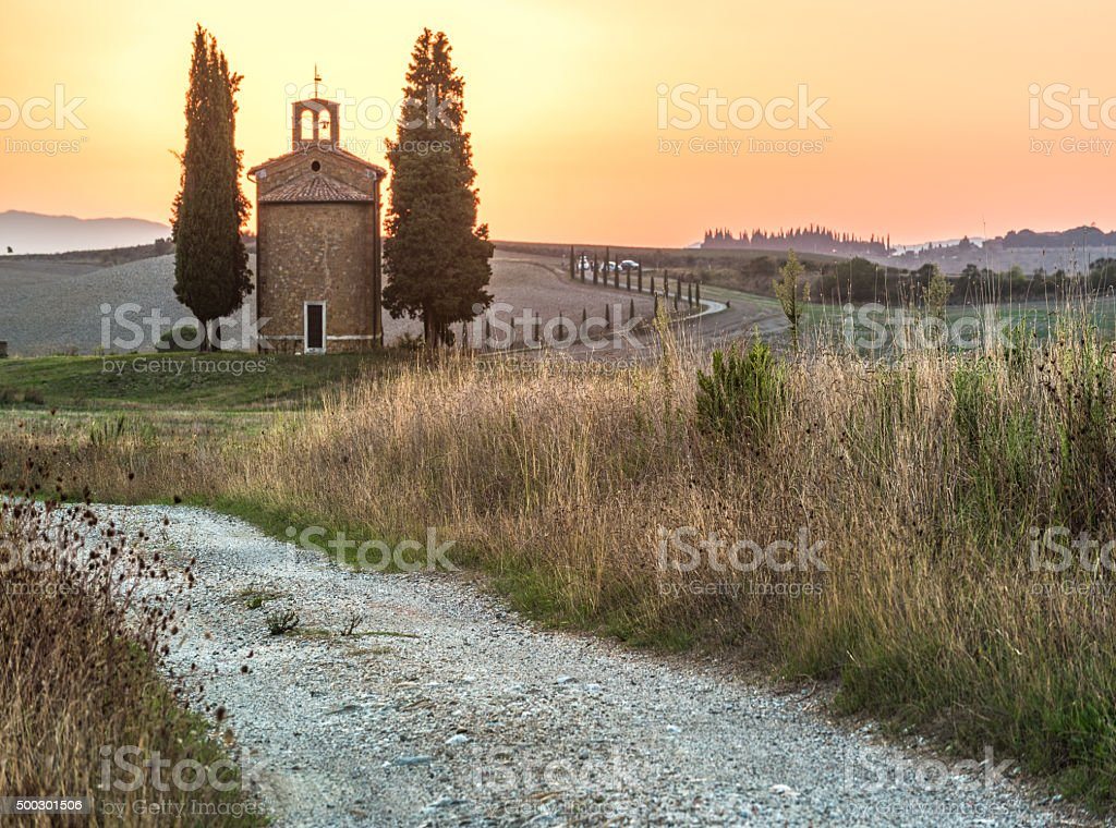 Tuscan landscape the national park of Val d'Orcia. stock photo