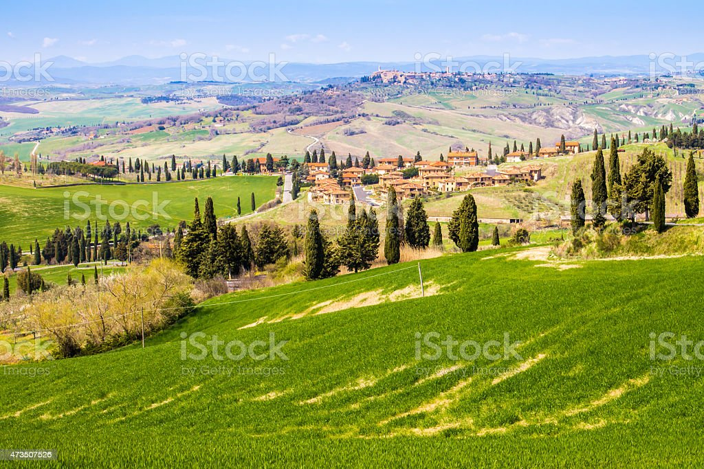 Tuscan landscape, view of the green Val D'Orcia stock photo