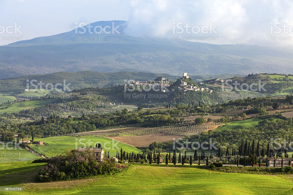 Tuscan Landscape With Monte Amiata in Background royalty-free stock photo