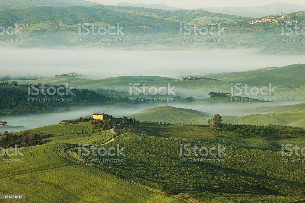 Tuscan Landscape With Morning Fog, Tuscany, Italy royalty-free stock photo