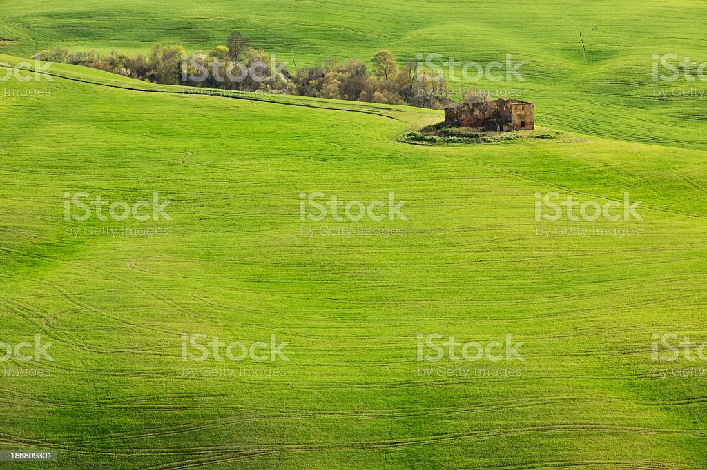 Tuscan Landscape with ruin stock photo