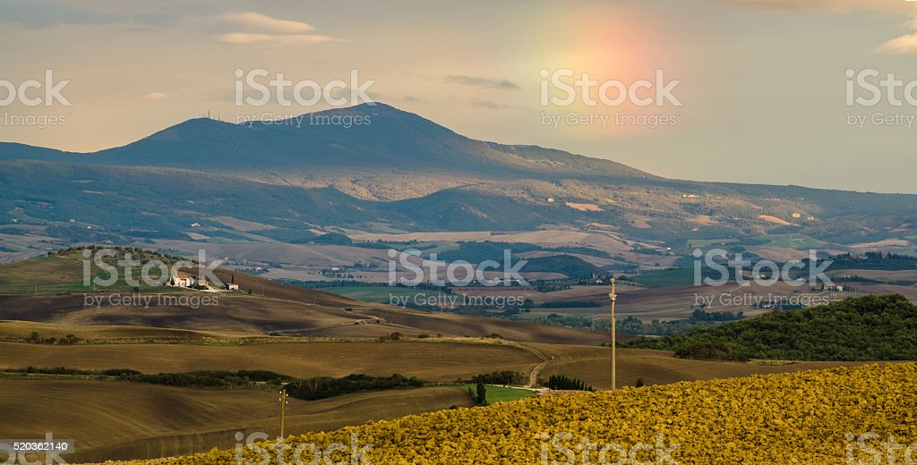 Tuscan landscape.Beautiful Tuscan  morning stock photo