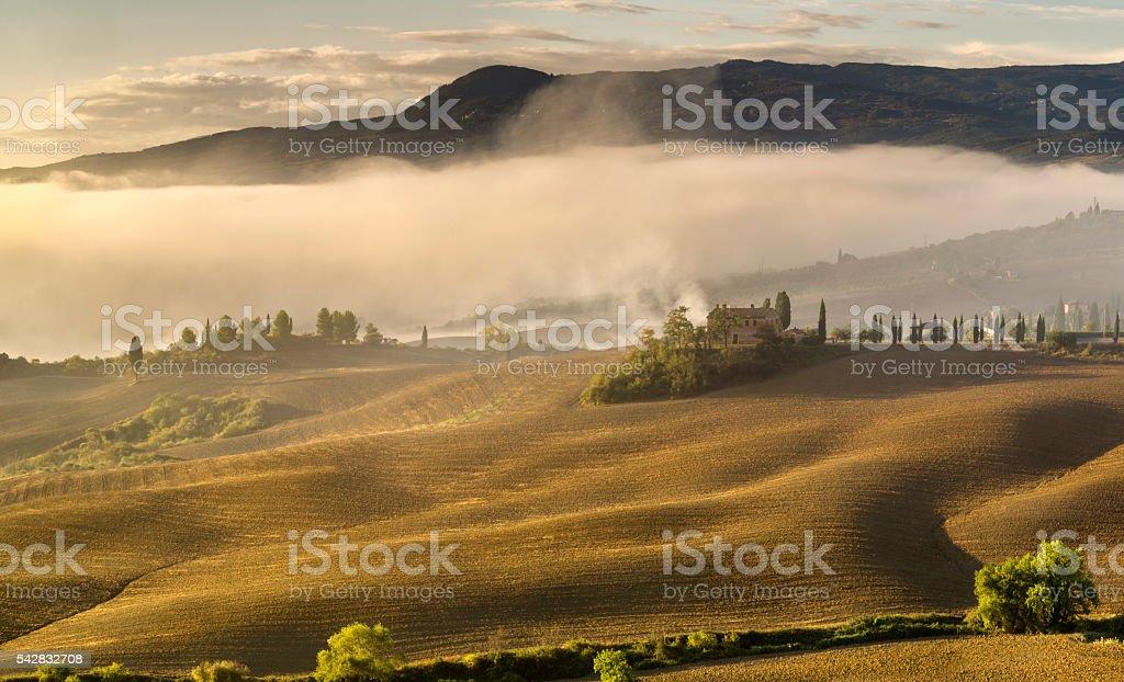 Tuscan landscape.Beautiful Tuscan  morning stock photo