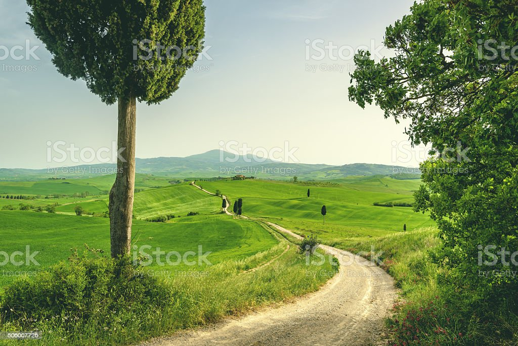 Tuscan place in a rural landscape stock photo