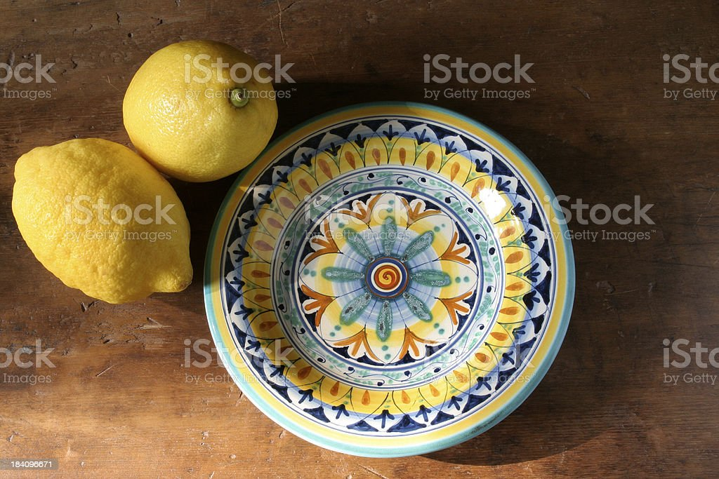 Tuscan Plate with Lemons royalty-free stock photo