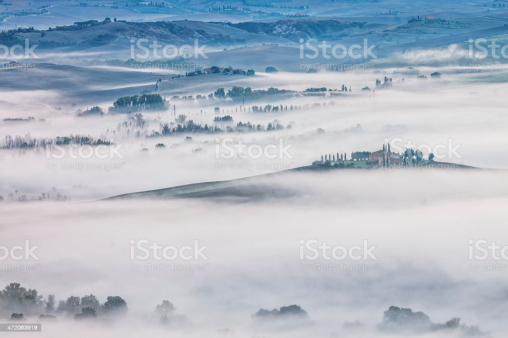 Tuscan Rolling Landscape With Morning Mist, tuscany, Italy royalty-free stock photo
