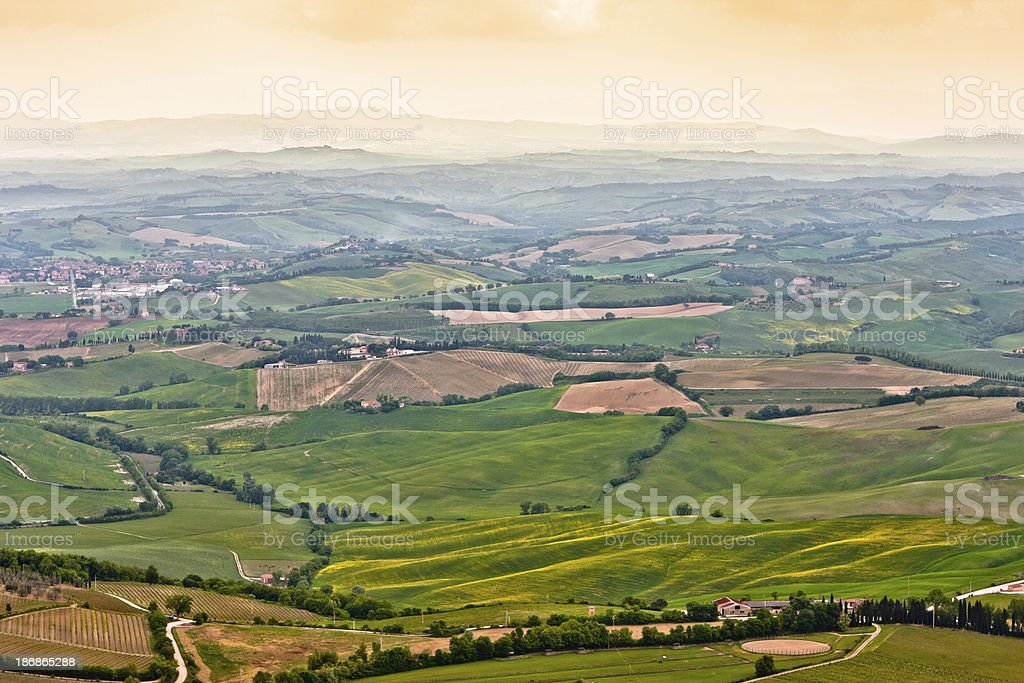 Tuscan Rural Landscape at Sunset from Montalcino, Val d'Orcia royalty-free stock photo