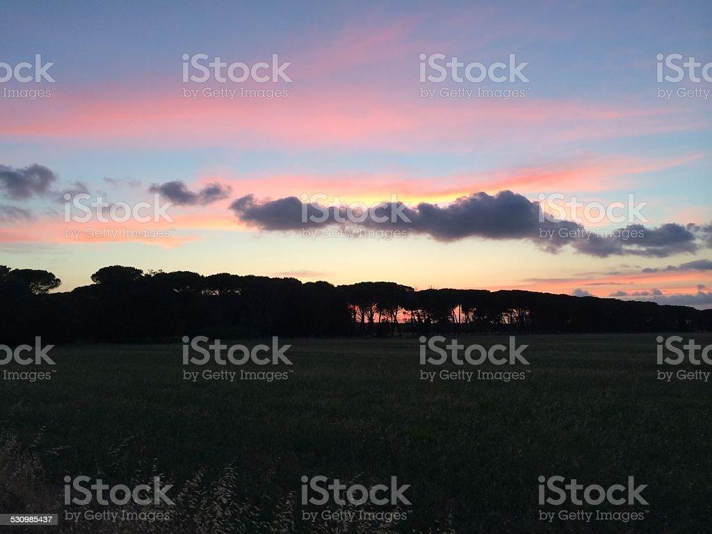 Toscana ao pôr-do-sol foto royalty-free