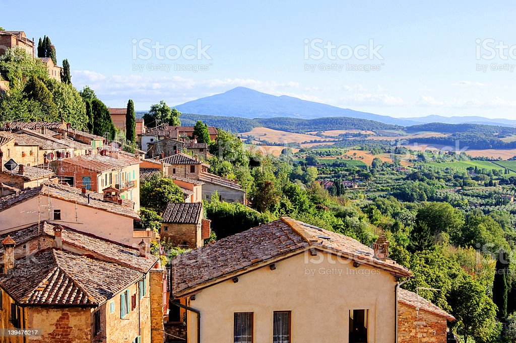 Tuscan view from Montepulciano, Italy stock photo