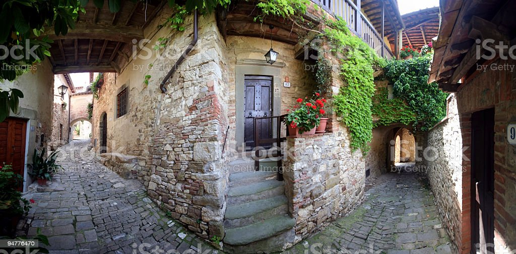Tuscan Village of Montefioralle, Wide Panorama royalty-free stock photo