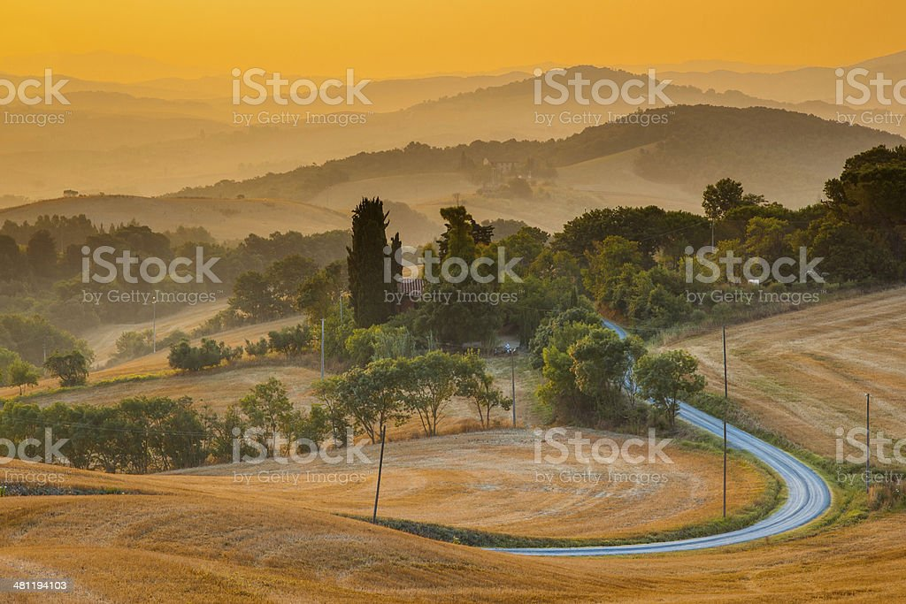 Tuscan Village View from Guardistallo royalty-free stock photo