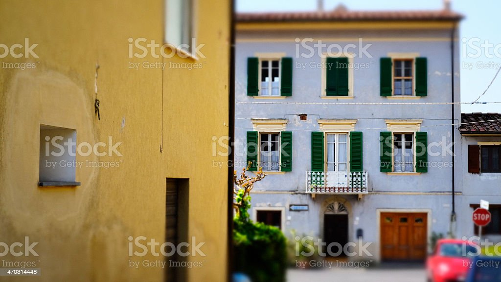 Tuscan villas in saturated colours stock photo