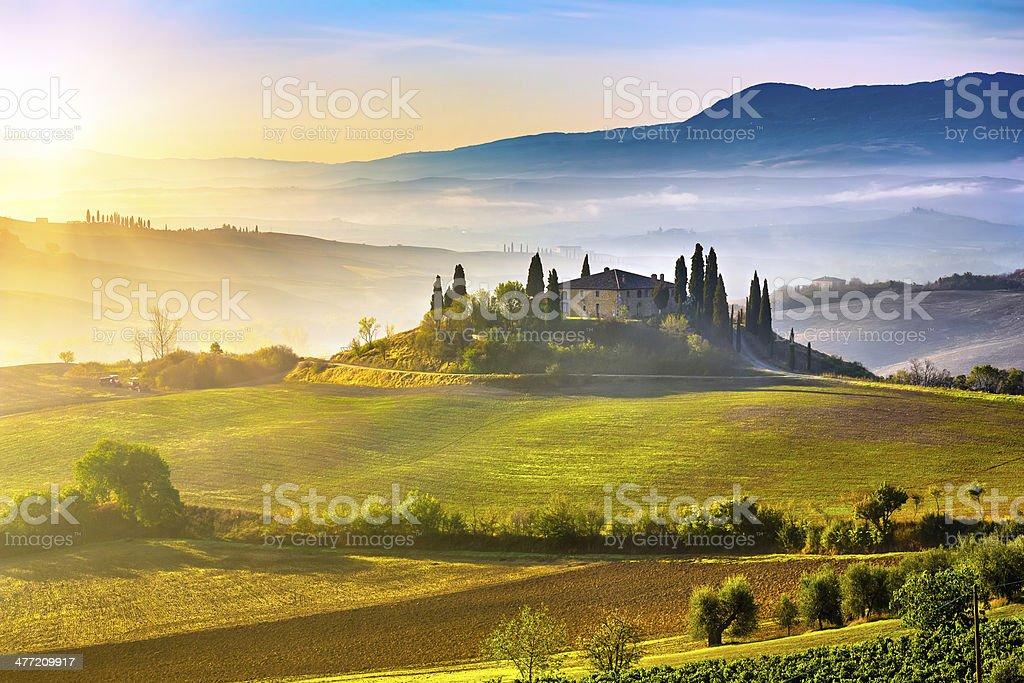 Tuscany at sunrise royalty-free stock photo