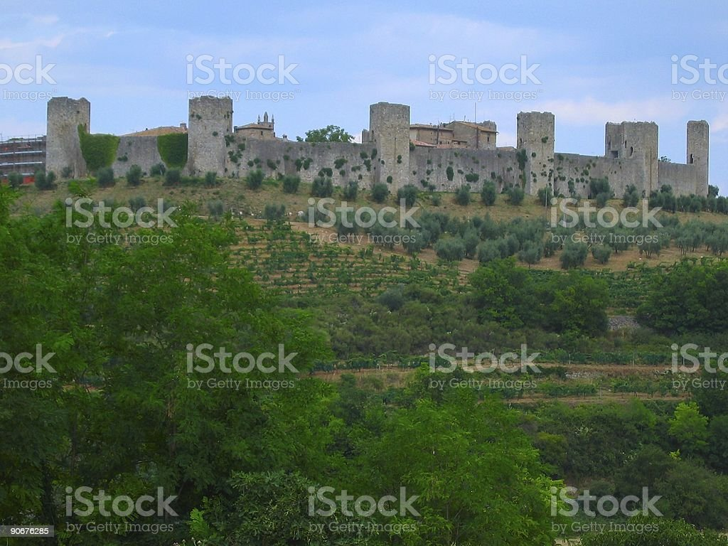 Tuscany castle on the hill royalty-free stock photo