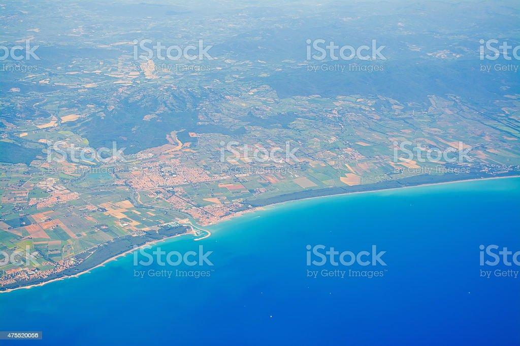 Tuscany coastline seen from above stock photo