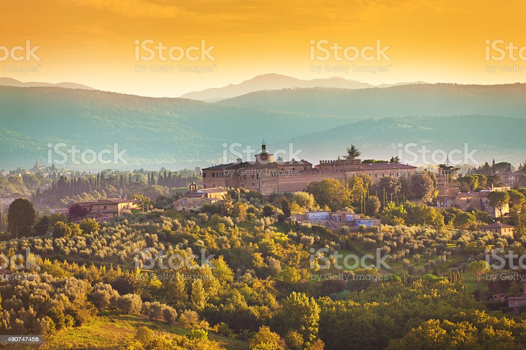 Tuscany Country Scenic Landscape of Vineyard and Hill Town stock photo