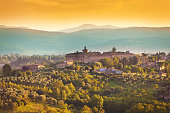Tuscany Country Scenic Landscape of Vineyard and Hill Town