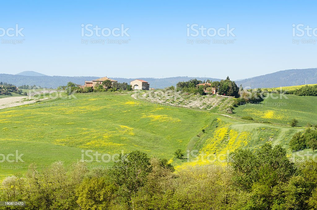 Tuscany farm on the hill royalty-free stock photo