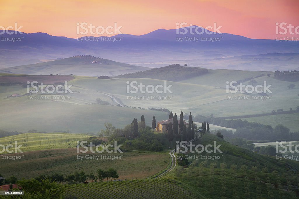Tuscany Farmhouse Belvedere at dawn, San Quirico d'Orcia, Italy royalty-free stock photo