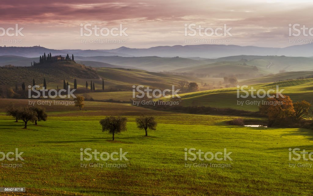 Tuscany Farmhouse Belvedere at dawn, San Quirico d'Orcia, Italy stock photo