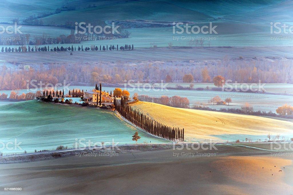 Tuscany farmhouse,morning stock photo