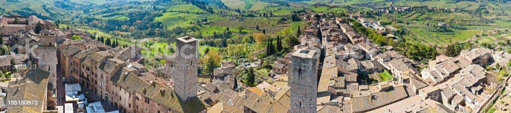 Tuscany hill top town panorama San Gimignano Italy stock photo