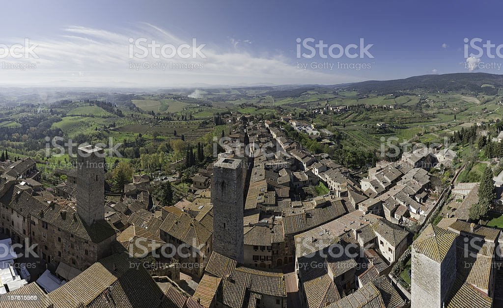 Tuscany hill town medieval towers San Gimignano aerial panorama Italy stock photo