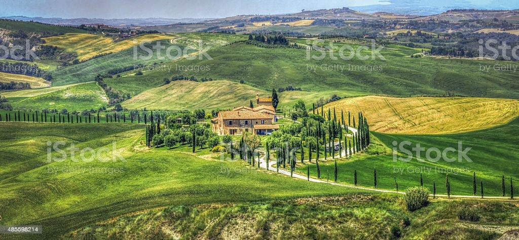 tuscany hills  painting-like landscape road stock photo