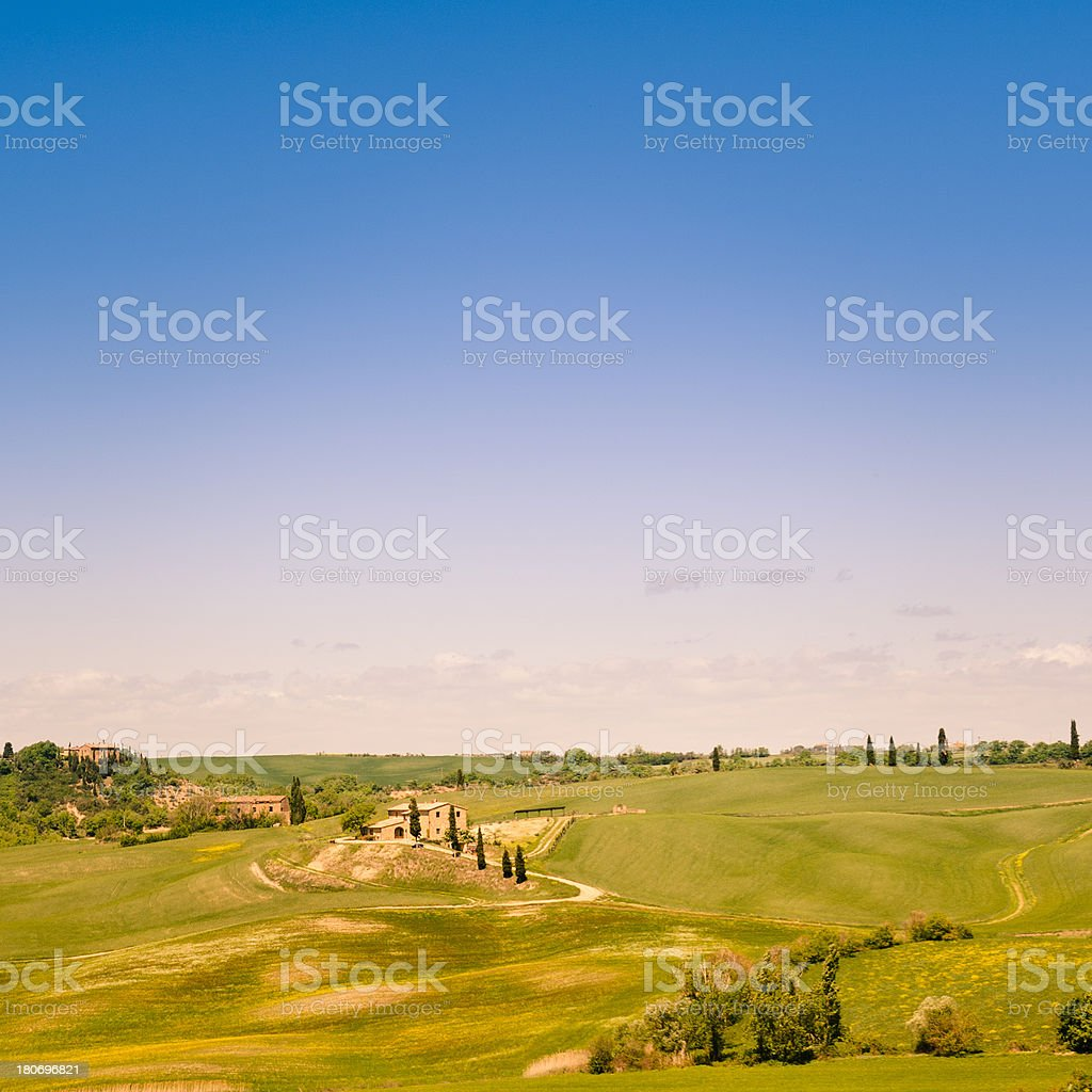 Tuscany hills with cultivated land royalty-free stock photo