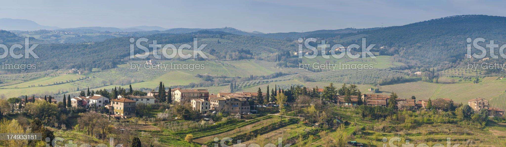 Tuscany hilltop village panorama Italy royalty-free stock photo