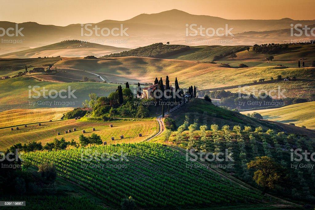 Tuscany, italy. Scenics landscape and farmhouse. stock photo