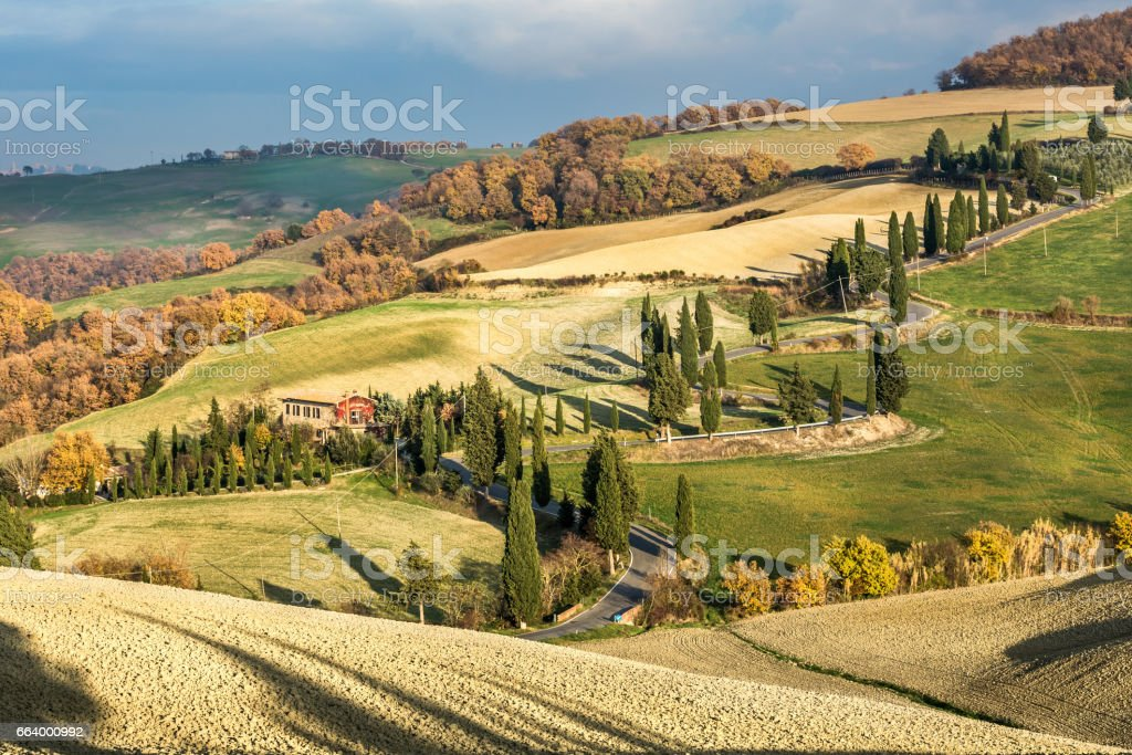 Tuscany landscape and town Monticchiello,Italy stock photo