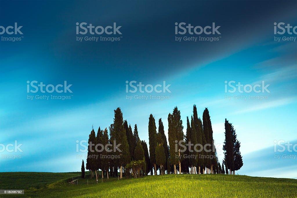 Tuscany Landscape At Night stock photo