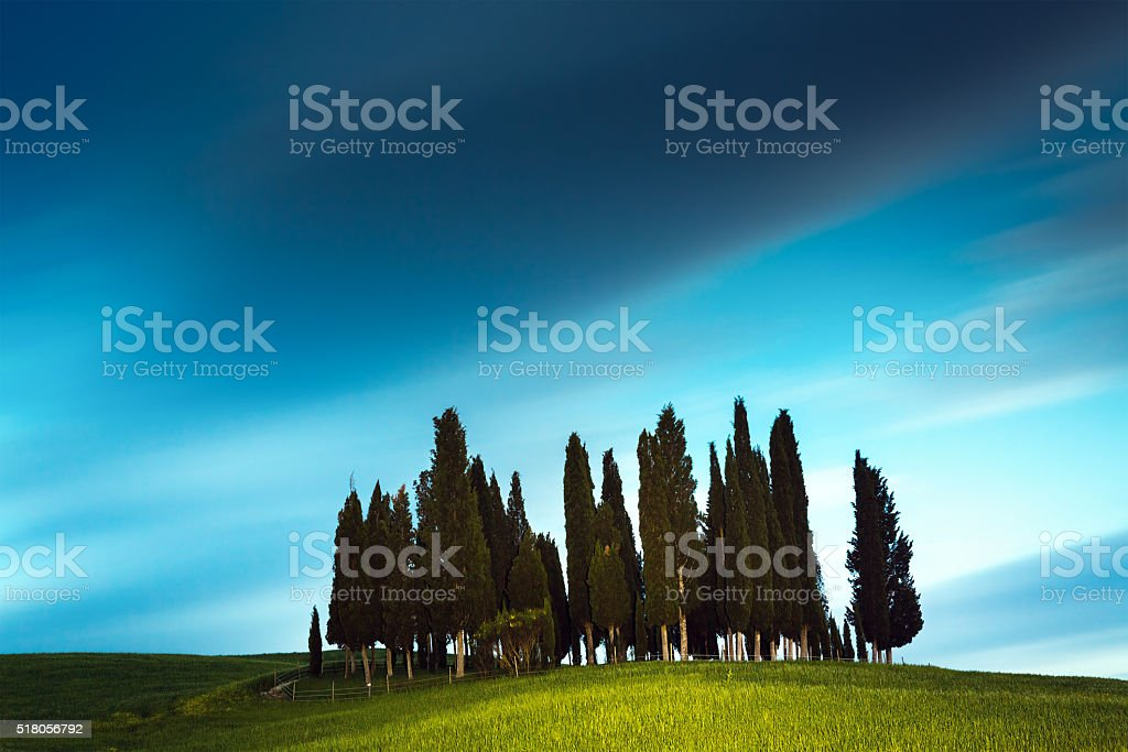 Tuscany Landscape At Night stock photo