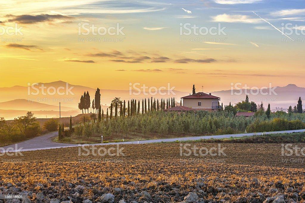 Tuscany landscape at sunrise royalty-free stock photo