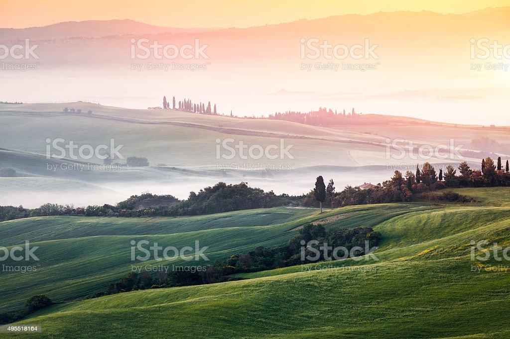 Tuscany Landscape At Sunrise stock photo