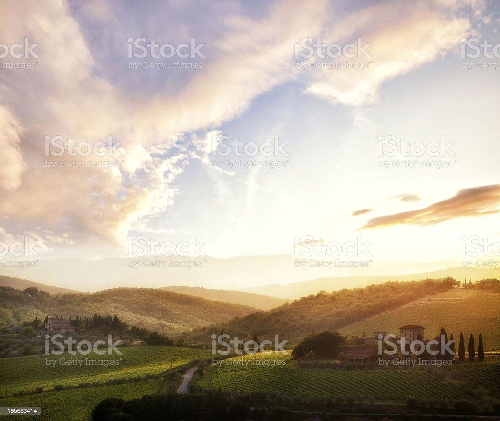 Tuscany landscape at sunset, Italy stock photo