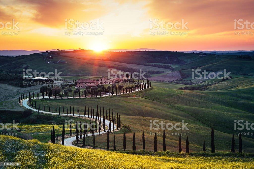 Tuscany Landscape At Sunset stock photo