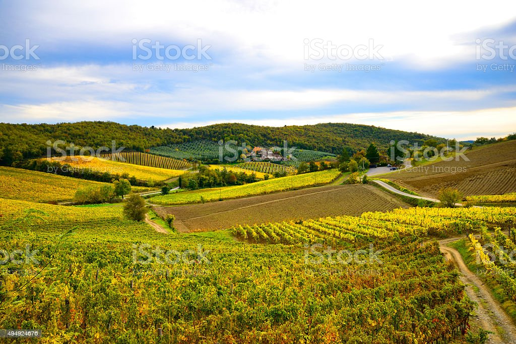 Tuscany landscape in fall stock photo
