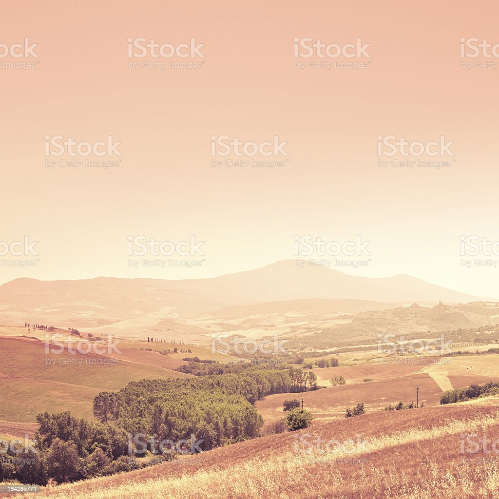 Tuscany Landscape in Val d'Orcia, Chianti Region royalty-free stock photo