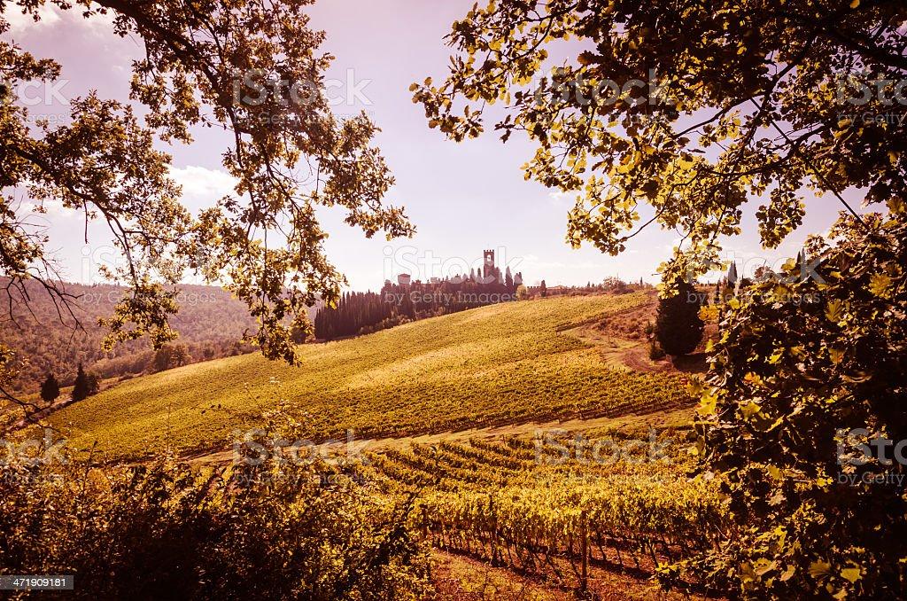 Tuscany landscape near Badia a Passignano royalty-free stock photo