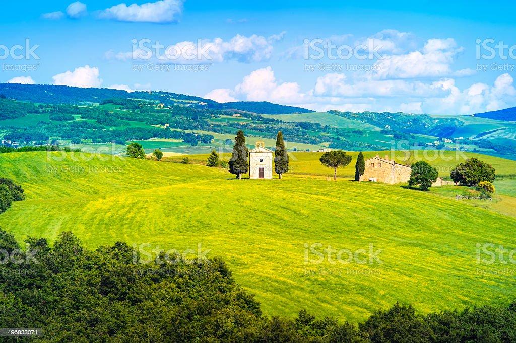 Tuscany landscape, Vitaleta chapel, little church in Val d Orcia royalty-free stock photo