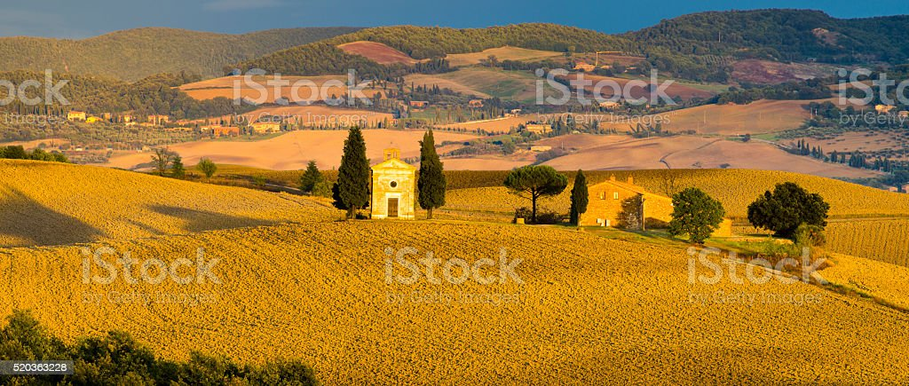 Tuscany landscape  with a little chapel of Madonna di Vitaleta stock photo