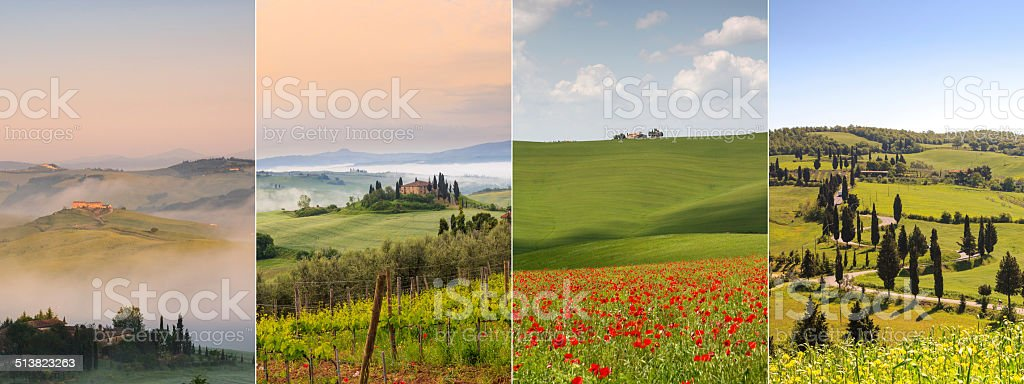 Tuscany landscapes - Belvedere Rolling hills winding road poppy field stock photo