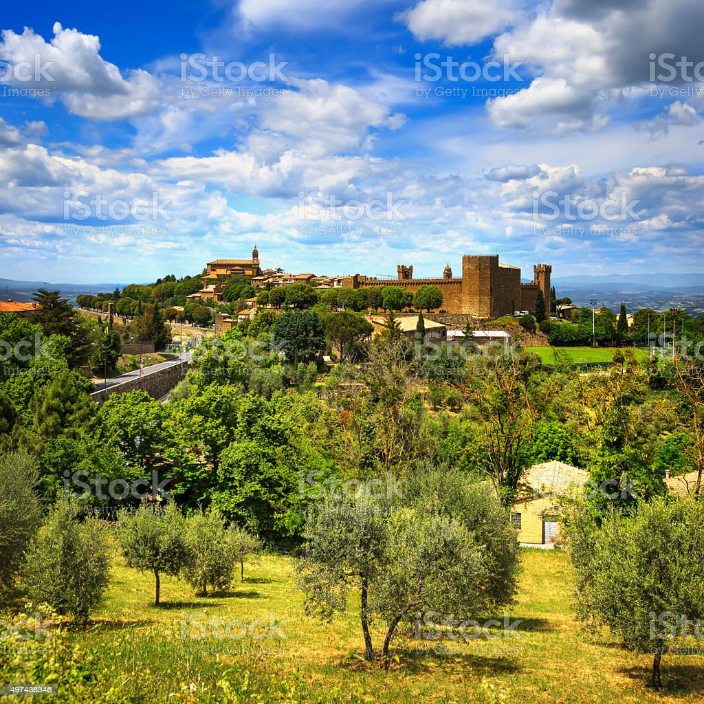 Tuscany, Montalcino medieval village, fortress and church. Siena stock photo