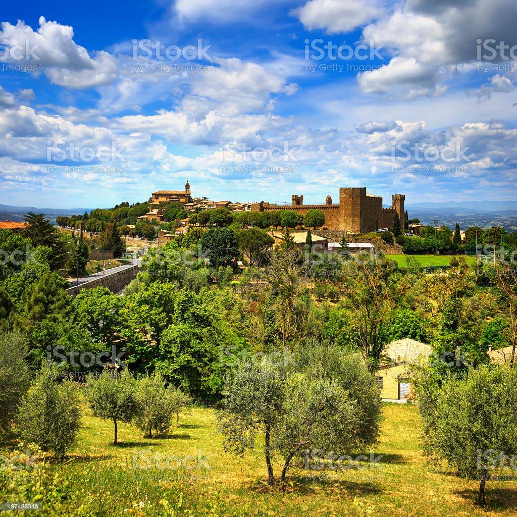 Tuscany, Montalcino medieval village, fortress and church. Siena stock photo