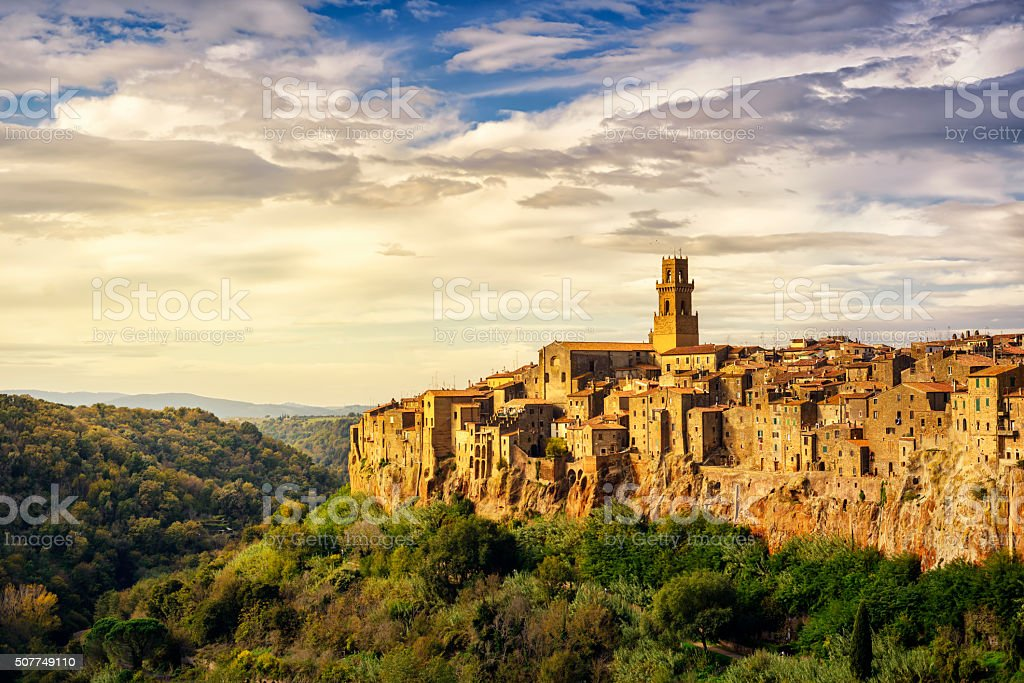 Tuscany, Pitigliano medieval village panorama landscape. Italy stock photo