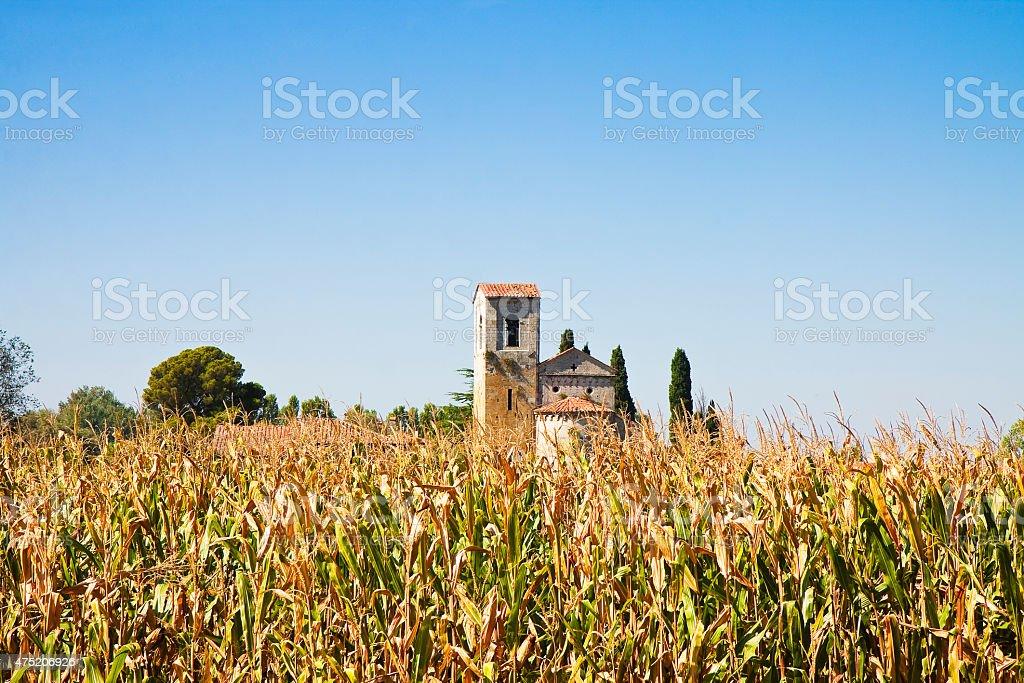 Tuscany Romanesque church stock photo