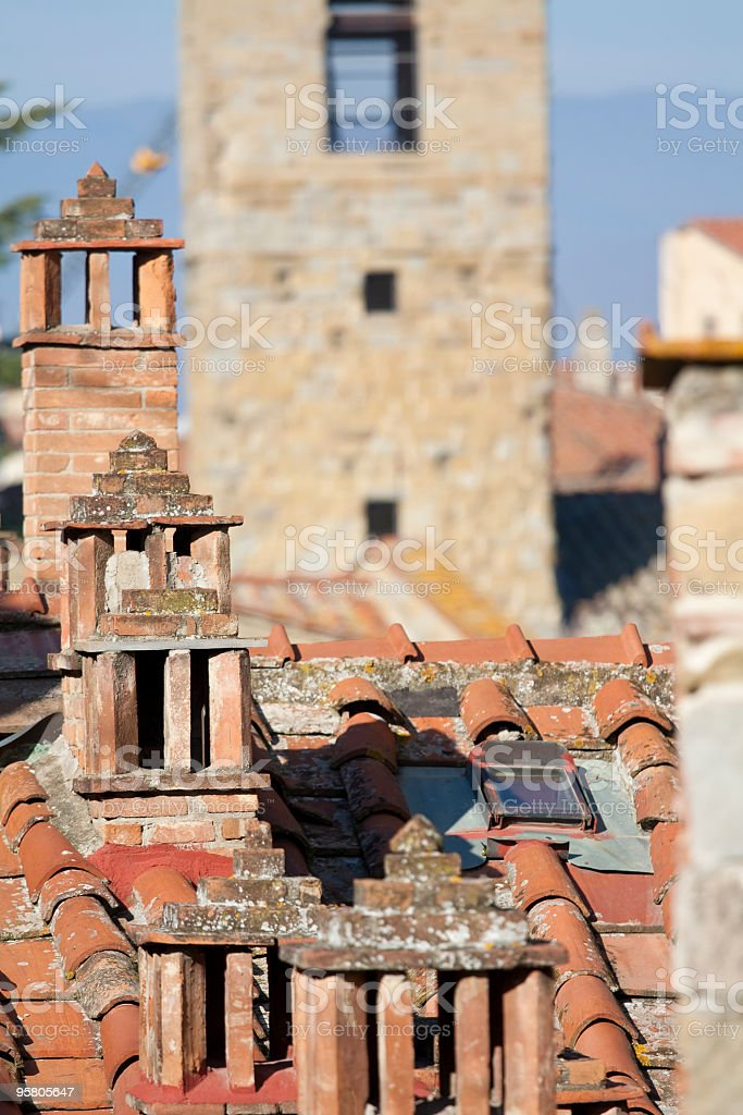Tuscany roof and chimneys royalty-free stock photo