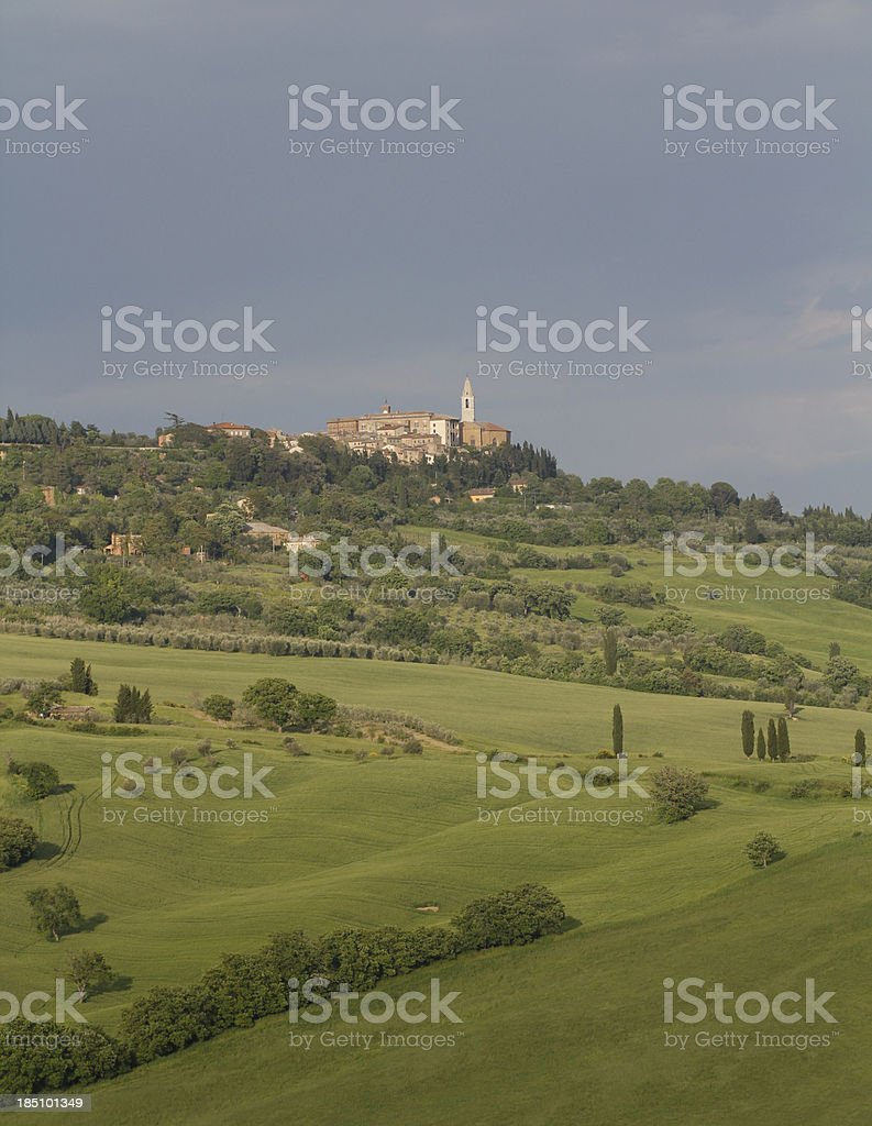 tuscany scenery with city of pienza royalty-free stock photo